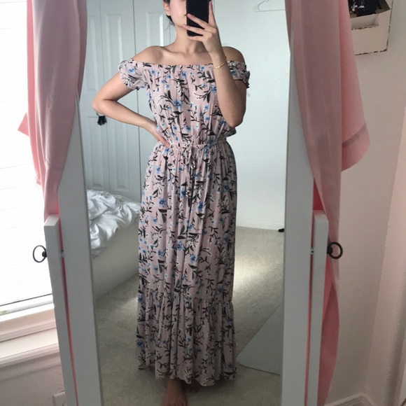 46461edca146 American Eagle Outfitters Dresses   Skirts - Pink floral off the shoulder  maxi dress